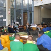 Reading to the senior school in the library